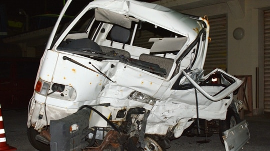 A Japanese driver's damaged vehicle is placed at a police station in Naha, Okinawa, southern Japan after November's fatal accident involving a U.S. Marine. (Kazuki Sawada/Kyodo News via AP)