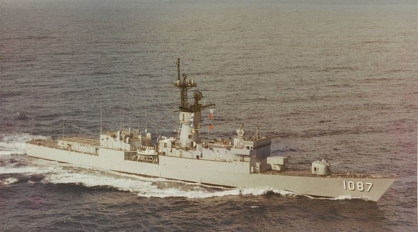 The destroyer escort Kirk off the coast of Oahu on Feb. 9, 1973 (originally photographed by Photographer's Mate Third Class J. Dowd, now in the archives of the U.S. Naval History and Heritage Command)