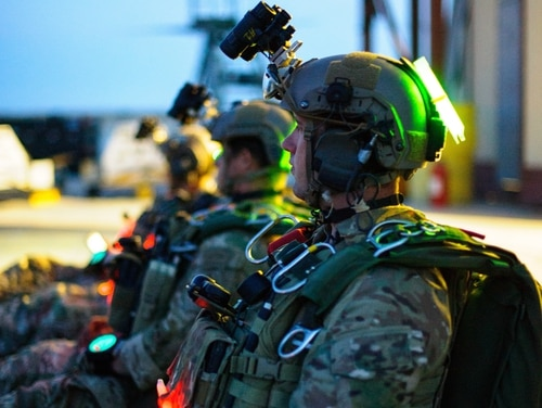 Army Green Berets prepare to conduct a HAHO jump. (Sr. Amn. Juan A. Duenas/DoD)