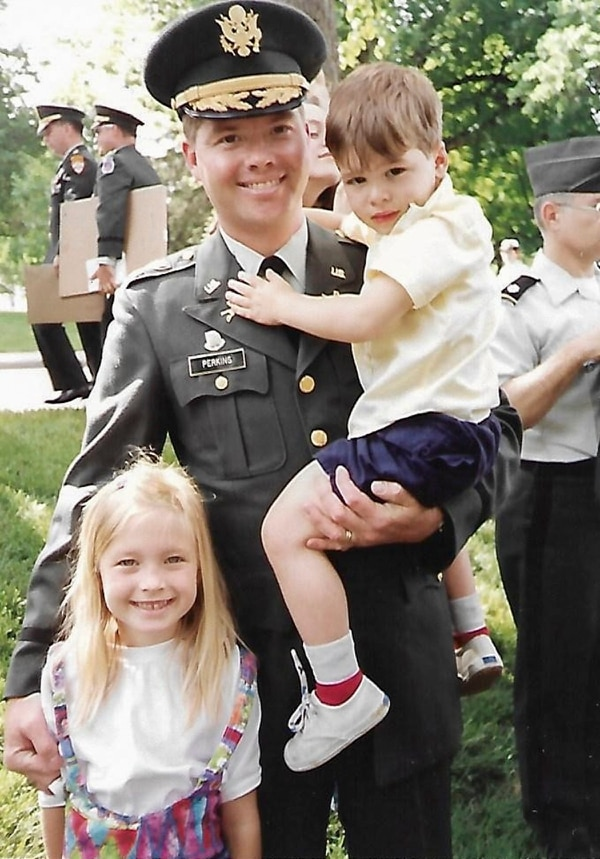 Maj. David Perkins with daughter, Cassandra, and son, Chad, following graduation from the Command and General Staff College in June 1992. Both Perkins children, now adults, are officers in the Army.