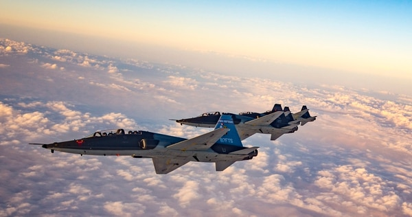 T-38 Talons from the 87th Flying Training Squadron fly in formation over the greater Del Rio, Texas. The squadron trains both U.S. Air Force and allied nation pilots prior to moving them on to fly more advanced aircraft. (Senior Airman Keifer Bowes/Air Force)