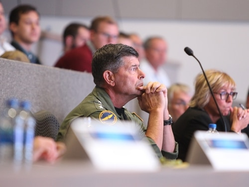 Then-Vice Chief of Naval Operations Adm. Bill Moran is seen on Oct. 15 at the Joint Warfare Assessment Laboratory at Naval Surface Warfare Center's Corona Division in Norco, Calif. (Troy Clarke/Navy)