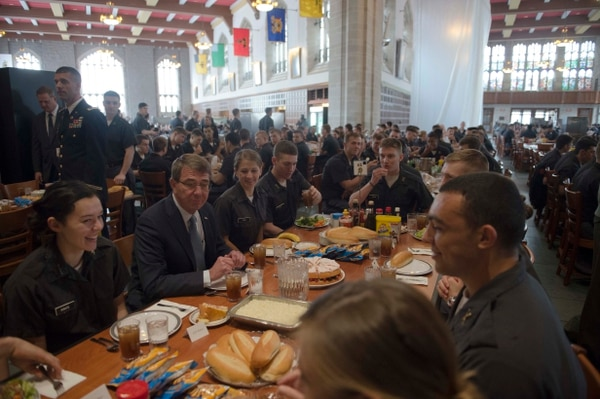 WEST POINT, N.Y. (March 23, 2015) Secretary of Defense Ash Carter has lunch with cadets during a visit to the United States Military Academy at West Point, March 23, 2015. (DoD photo by Mass Communication Specialist 1st Class Tim D. Godbee)(Released)