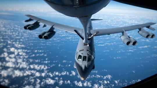 B-52H Stratofortress aircraft from Barksdale Air Force Base, Louisiana's 2nd Bomb Wing receives fuel from a KC-135 Stratotanker aircraft from the 100th Air Refueling Wing, RAF Mildenhall, England, during a bomber task force mission off the Scottish coast Oct. 14. (Tech. Sgt. Emerson Nuñez/Air Force)