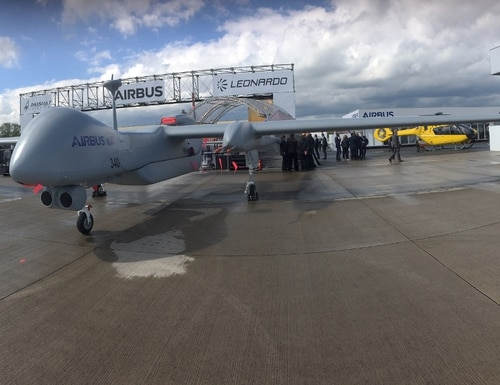 An Israeli Heron-TP unmanned aircraft sits on the tarmac during the April 2018 Berlin Air Show. (Photo by Sebastian Sprenger)