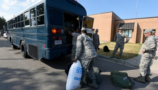 Airmen from the South Carolina Air National Guard and 169th Fighter Wing, prepare to deploy from McEntire Joint National Guard Base to Bluffton, S.C., in advance of Hurricane Florence on Sunday. (Master Sgt. Caycee Watson/Air National Guard)