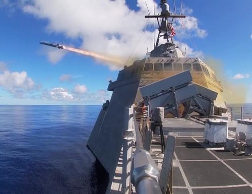 The littoral combat ship Gabrielle Giffords launches a Naval Strike Missile during exercise Pacific Griffin. (U.S. Navy)