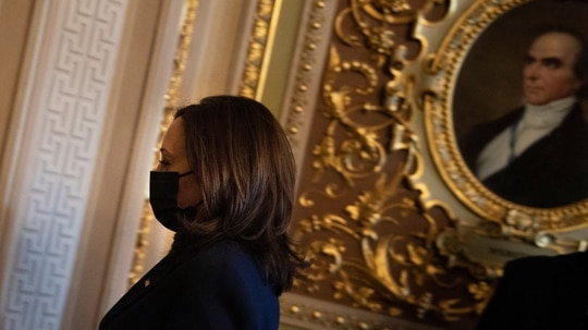 US Vice President Kamala Harris leaves Capitol Hill after placing a tie breaking vote in the Senate during a procedural on Covid-19 relief legation on March 4, 2021, in Washington, DC. She cast another tie-breaking vote Wednesday, this time to advance Pentagon nominee Colin Kahl. (Photo by BRENDAN SMIALOWSKI/AFP via Getty Images)
