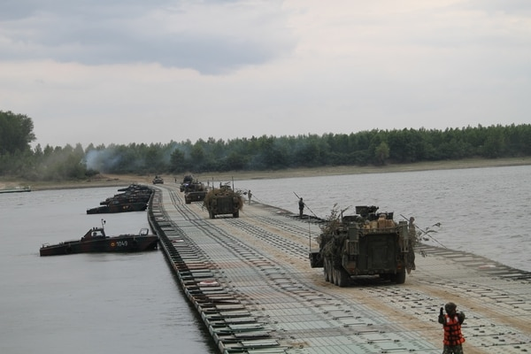 The Strykers of the 2nd Cavalry Regiment are often the vehicles of choice during bridging and river crossing exercises in Europe. (Jen Judson/Staff)