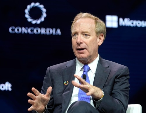 Brad Smith, president of Microsoft, speaks onstage during the 2019 Concordia Annual Summit, in New York City. (Riccardo Savi/Getty Images for Concordia Summit)