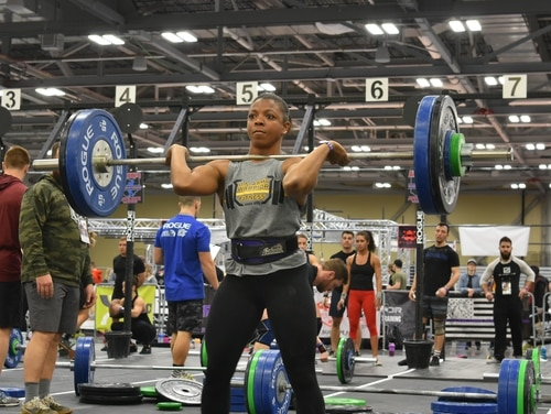 Capt. Kasandra Clark, a pilot with the 160th Special Operations Aviation Regiment, represented the Army Warrior Fitness Team at the 2019 Arnold Affiliate Gathering in Columbus, Ohio, where the Army team took first place in the CrossFit Endeavor competition. (Sgt. 1st Class Robert Dodge/Army)