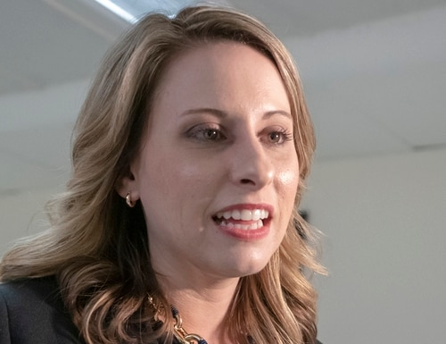 In this April 3, 2019 photo, Rep. Katie Hill, D-Calif., talks on Capitol Hill in Washington. Hill says she's asked for an investigation into intimate photos she says were posted online without her consent. (J. Scott Applewhite/AP)