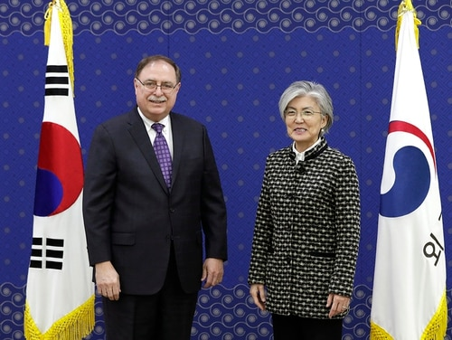 South Korean Foreign Minister Kang Kyung-wha, right, and Timothy Betts, acting deputy assistant secretary and senior adviser for security negotiations and agreements in the U.S. Department of State, stand for the media before their meeting at Foreign Ministry in Seoul, South Korea, Sunday, Feb. 10, 2019. (Lee Jin-man/AP)