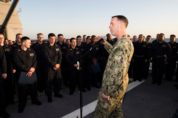 Chief of Naval Operations Adm. John Richardson speaks with sailors during a visit aboard the cruiser Bunker Hill, deployed to the Arabian Gulf. (Navy photo by MC3 Rachael Treon)