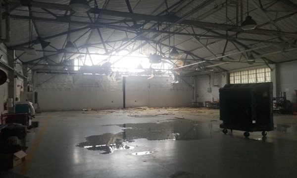 This aircraft hangar at Camp Lejeune is one of roughly 800 buildings damaged by Hurricane Florence in October 2018 between Lejeune, Marine Corps Air Station New River and Marine Corps Air Station Cherry Point. (Allie Erenbaum/U.S. Marine Corps)