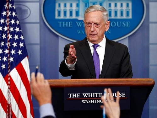 Defense Secretary Jim Mattis takes questions during the daily news briefing at the White House Feb. 7. (Carolyn Kaster/AP)