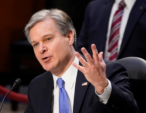 FBI Director Christopher Wray testifies before the Senate Judiciary Committee on Capitol Hill in Washington, Tuesday, March 2, 2021. (Patrick Semansky/AP