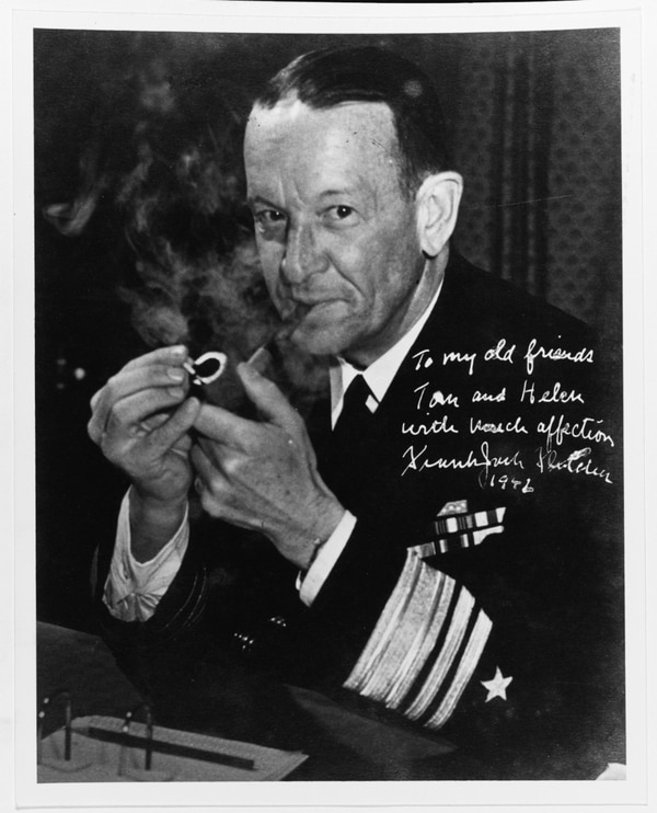 Frank Jack Fletcher after he was promoted to vice admiral. This photo was autographed to Adm. and Mrs. Thomas Kinkaid. (Courtesy of Adm. Thomas C. Kinkaid, U.S. Naval History and Heritage Command)