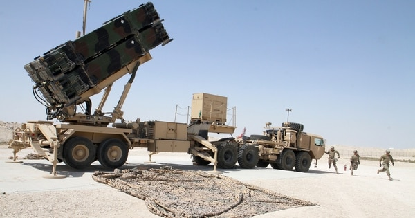 Soldiers from Battery C, 1st Battalion, 43rd Air Defense Artillery Regiment, begin a missile reload operation in U.S. Central Command March 7. (Sgt. Zach Mott/Army)