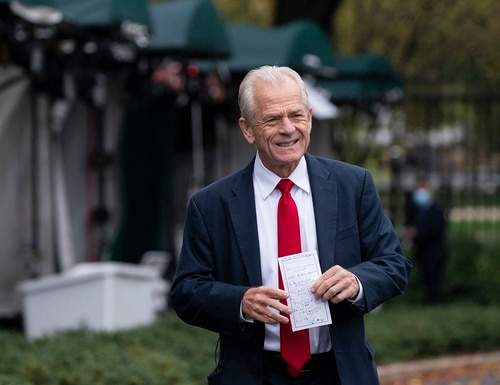 White House trade adviser Peter Navarro holds his notes after a television interview at the White House on Oct. 12, 2020, in Washington. (Alex Brandon/AP)