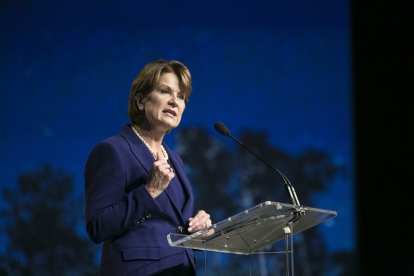 Marillyn Hewson, president and CEO of Lockheed Martin, told reporters she is still studying what the tariff decision would mean for the company. Laura Buckman/AFP via Getty Images)