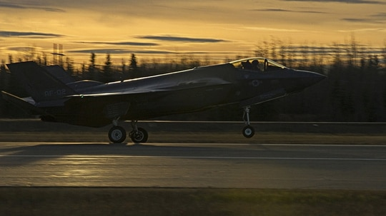 A U.S. Air Force F-35A Lightning II fighter aircraft lands on the flight line Oct. 12, 2017, at Eielson Air Force Base, Alaska. The F-35 is here to conduct cold weather testing to ensure the fifth generation multi-role fighter aircraft performs optimally in Alaska's harsh weather conditions. (Airman 1st Class Eric M. Fisher/Air Force)