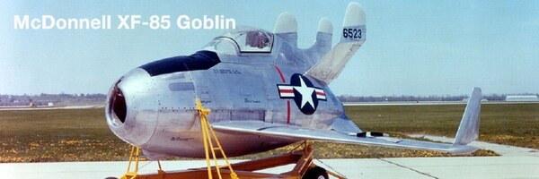 The XF-85 Goblin was designed to be carried in the bomb bay of a B-36 and launched to fight off attacking MiG-15s. (National Museum of the U.S. Air Force)