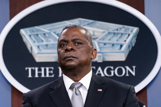 Secretary of Defense Lloyd Austin listens to a question as he speaks during a media briefing at the Pentagon, Feb. 19, 2021, in Washington. (Alex Brandon/AP)