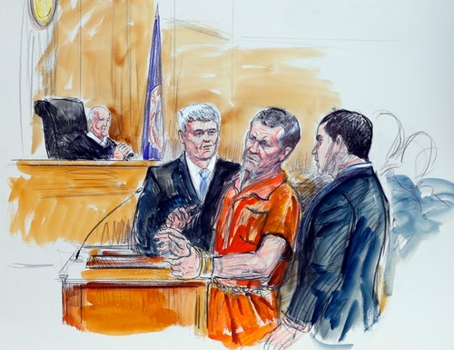 FILE- This Nov. 7, 2014 file artist rendering shows, Irek Hamidullin, front center, his attorney Robert Wagner, front left, and interpreter Ihab Samra, front right, as Judge Henry Hudson, left, listens in Federal Court in Richmond, Va. Sentencing for Hamidullin is scheduled Thursday, Dec. 3, 2015, at the federal court. (AP Photo/Dana Verkouteren, File)