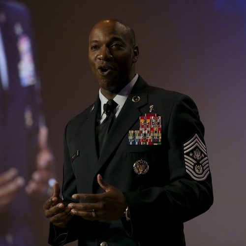 Chief Master Sergeant of the Air Force Kaleth Wright speaks at the Air Force Association's Air Warfare Symposium in Orlando, March 2, 2017. In this year's symposium, Wright challenged Air Force leaders to create a culture where airmen can try new ideas and innovate, and not be afraid if their ideas fail. (Daniel Woolfolk/Staff)