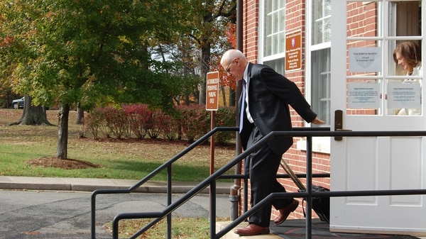 Retired Army Maj. Gen. James Grazioplene leaves the courthouse at Fort Belvoir, Virginia, after his arraignment on six charges related to raping a minor over the course of six years. (Todd South/Staff)