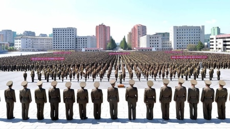 This picture taken on Sept. 23, 2017, and released from North Korea's official Korean Central News Agency (KCNA) on Sept. 24, shows members of the Ministry of People's Security during an anti-US rally in Pyongyang. (STR/AFP/Getty Images)