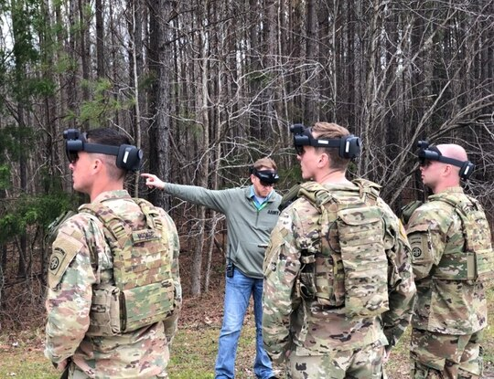 Soldiers take the Integrated Visual Augmentation System into realistic training scenarios at Fort Pickett, Virginia, in early April. (Army)