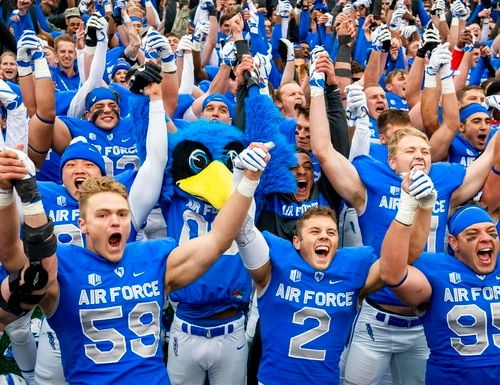 Air Force players celebrate their 35-7 win over Navy in an NCAA college football game at Falcon Stadium at the U.S. Air Force Academy on Saturday in Colorado Springs, Colo. (Dougal Brownlie/The Gazette via AP)