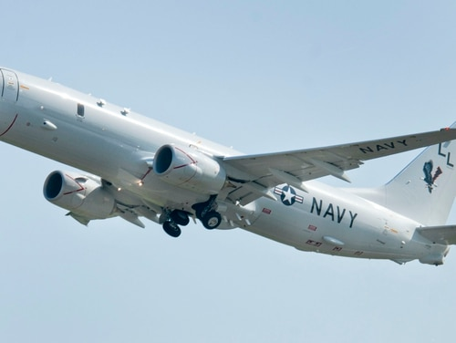 A Navy P-8 Poseidon aircraft takes off from Naval Air Station Jacksonville (Mark D. Faram/Staff)