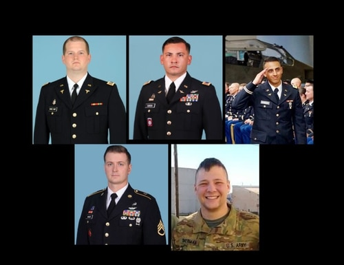 From top left: Capt. Seth Vernon Vandekamp, 31, Chief Warrant Officer 3 Dallas Gearld Garza, 34, Chief Warrant Officer 2 Marwan Sameh Ghabour, 27, Staff Sgt. Kyle Robert McKee, 35, and Sgt. Jeremy Cain Sherman, 23. All five U.S. soldiers were among the seven killed when their helicopter crashed in the Sinai. (Army)