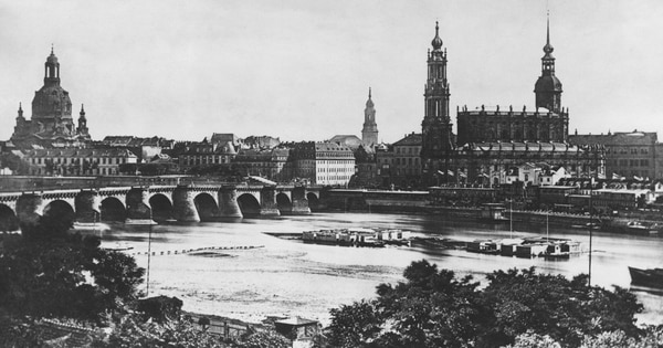 A view across the river Elbe, toward Augustus Bridge and Dresden Frauenkirche (left) and the Katholische Hofkirche (right), in Dresden, Germany, 1875. (Hulton Archive/Getty Images)