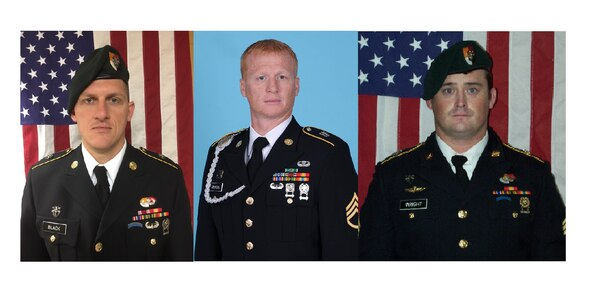 Staff Sgt. Bryan Black (left to right), Staff Sgt. Jeremiah Johnson and Staff Sgt. Dustin Wright were killed in a deadly ambush in Niger. In all, four soldiers were killed in the Oct. 4 attack. The soldiers were assigned to 3rd Special Forces Group at Fort Bragg, N.C. (Army)