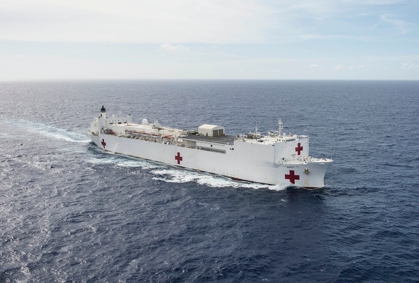 Pacific Partnership 2018 will see 800 military and civilian personnel from seven nations embarked on the hospital ship USNS Mercy, shown, and the expeditionary fast transport ship USNS Fall River. (MC2 Hank Gettys/U.S. Navy)