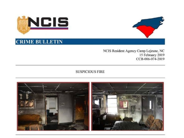 NCIS is investigating a suspicious fire at 1st Battalion, 6th Marine Regiment. (Screenshot of NCIS Crime Bulletin)