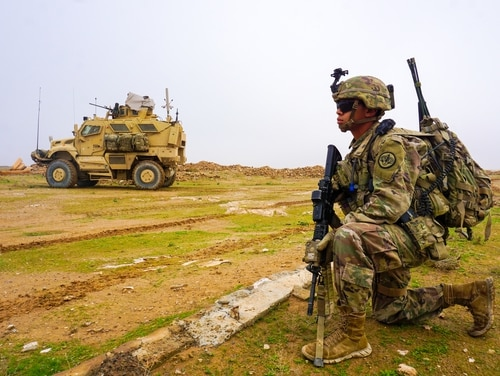 A U.S. Army soldier assigned to Task Force Thunder, 3rd Cavalry Regiment, provides security during a routine patrol, Iraq, Dec. 2, 2018. (CJTF-OIR)
