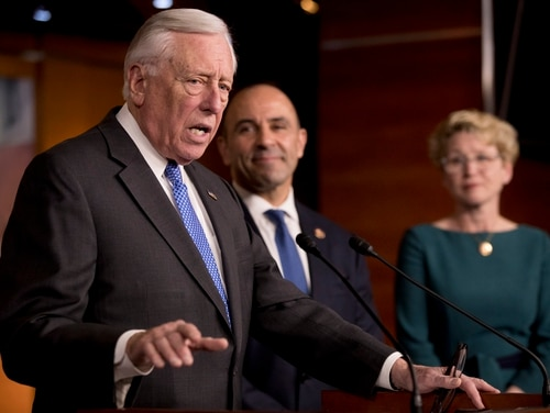 House Majority Leader Steny Hoyer of Md., left, accompanied by Rep. Jimmy Panetta, D-Calif., center, and Rep. Chrissy Houlahan, D-Pa., right, speaks at a news conference to introduce legislation supporting NATO on Capitol Hill in Washington, Tuesday, Jan. 22, 2019. (Andrew Harnik/AP)