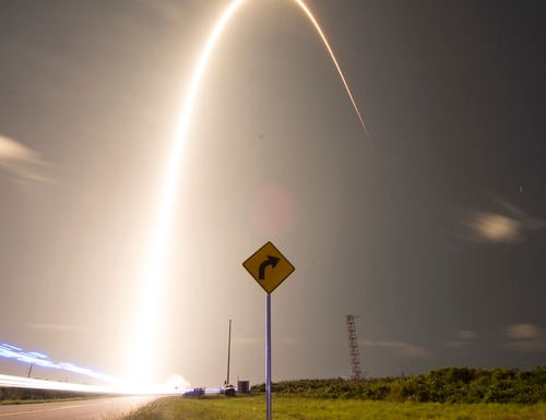 A SpaceX Falcon 9 rocket launches Starlink at Cape Canaveral Air Force Station, Fla. on May 23. The Starlink mission put 60 satellites into orbit and aims to build a constellations of satellites to bring internet capabilities to areas that do not have or have limited internet. (1st Lt Alex Preisser/Air Force)