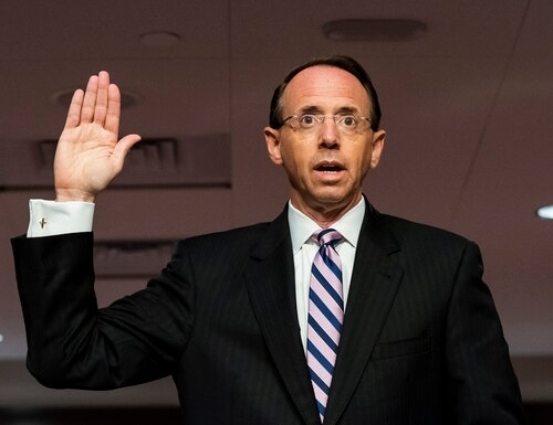 Former Deputy Attorney General Rod Rosenstein is sworn in before a Senate Judiciary Committee hearing on Capitol Hill on June 3, 2020. (Jim Lo Scalzo/AP)