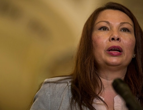 Sen. Tammy Duckworth, D-Ill., speaks during a weekly news conference on Capitol Hill on Aug. 21, 2018, in Washington. (Zach Gibson/Getty Images)