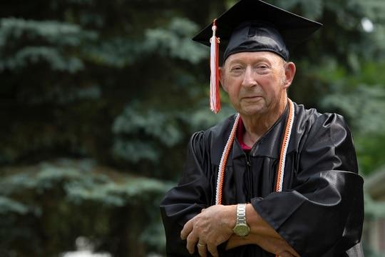 Edward Sanders, 87, of Jackson recently received his diploma from Jackson High School. (J. Scott Park/Jackson Citizen Patriot via AP)
