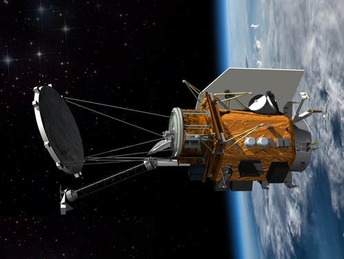 A conceptional drawing of the Weather System Follow-on—Microwave satellite is shown. (Ball Aerospace)