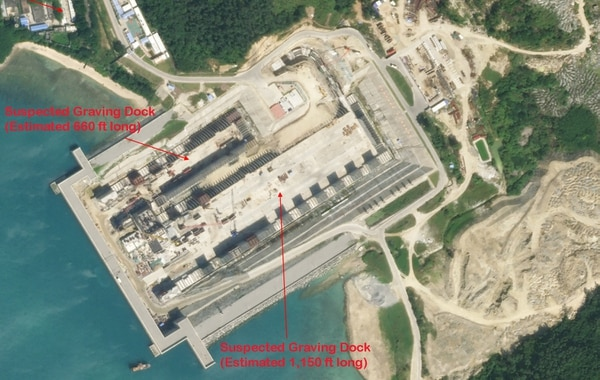 The suspected drydock under construction at China's Yulin Naval Base Complex, as seen on this satellite photo dated Dec. 3, 2020. (Planet Labs image)