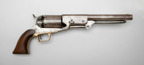 Designed by Colt with input from namesake Texas Ranger Samuel Walker, this six-shot .44-caliber monster saw but a year of service in the Army. Walker himself was killed in battle that same year, 1847, during the Mexican War. (History Net)