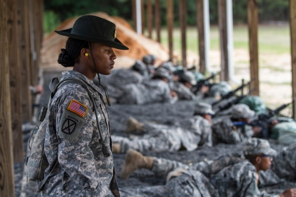 Army Reserve drill sergeant, Staff Sgt. Angelina Senghor, E Company, 1-518th Inf. Regt., 98th Training Division (IET), watches as a Soldier finishes firing at the zero range on Fort Jackson, S.C. (U.S. Army photo by Sgt. 1st Class Brian Hamilton)